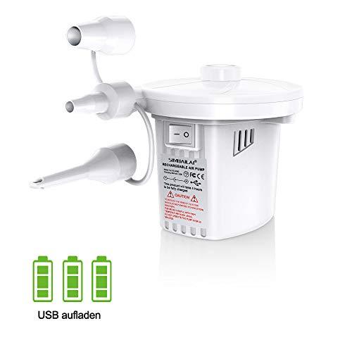 SIMBAILAI wiederaufladbare elektrische Luftpumpe,unterstützt sowohl das Abblasen als auch das Ansaugen,USB-Aufladung,3 Luftpumpe mitgeliefert, geeignet für Vakuumbeutel,Luftmatratze usw
