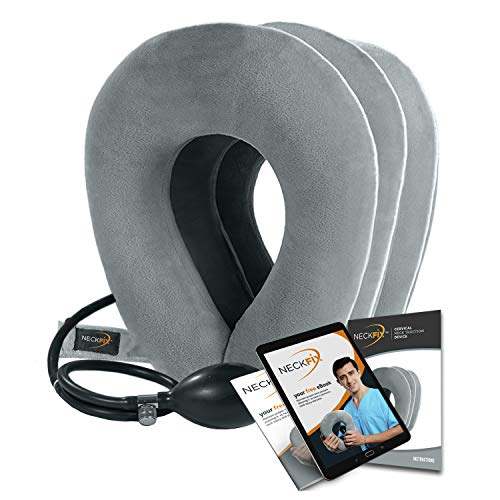NeckFix Cervical Neck Traction Device [FDA Approved] - Instant Neck Pain Remedy at Home - Inflatable & Adjustable Neck Stretcher Collar Device - Gray