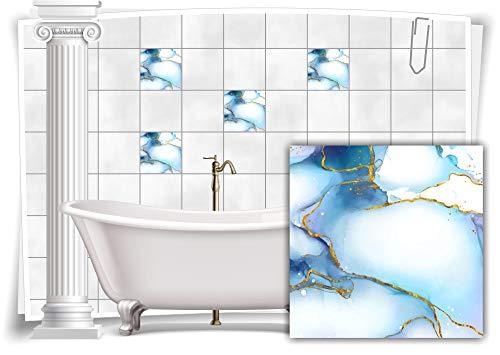 Medianlux Adhesivo decorativo para azulejos, diseño de mármol, óleo, pintura abstracta, baño dorado y azul, 4 unidades, 20 x 20 cm, m23m4q-136664