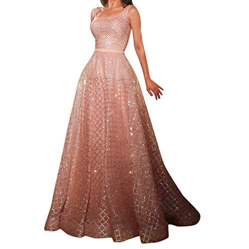 feiXIANG Damen Lang Abendkleider Mode Frauen ärmelloses Partykleid Hohe Taille Bodenlanges Kleid(Rosa,M)