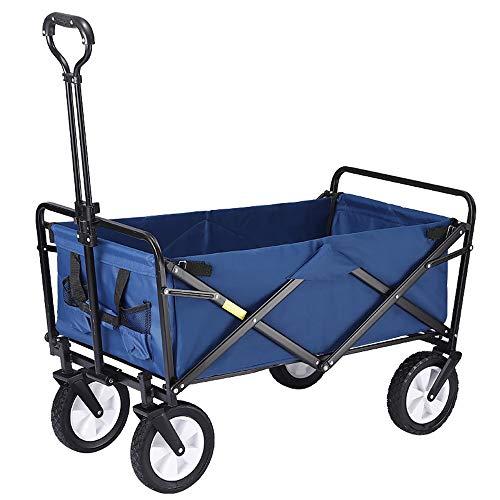 Remolque de Viaje Plegable para Auto para Acampar al Aire Libre, Carrito portátil para Mascotas con Ruedas, Varilla de tracción Ajustable, transportador de Lona para Uso General de jardinería (Azul)