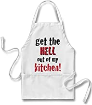 Smity 106 Funny Get The Hell Out of My! Apron White, One Size Fits Most