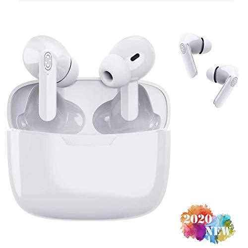 Auricular Bluetooth 5.0, reducción del Ruido estéreo 3D HD,micrófono y Caja de Carga incorporados, IPX7 Impermeables,para iPhone/Android/Apple Airpods Pro/Samsung/Huawei