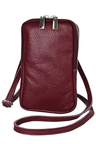 AmbraModa GLX17 - bolso de bandolera, bolso para celular, bolso de piel genuina con bandolera extraíble y ajustable, apto para teléfonos móviles de hasta 6.5 pulgadas. (burdeos)