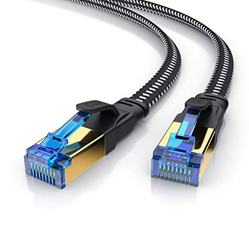 CSL - 10m CAT.8 Netzwerkkabel Flach 40 Gbits - Baumwollmantel - LAN Kabel Patchkabel - CAT 8 Gigabit RJ45 Ethernet Cable - 40000 Mbits Geschwindigkeit - Flachbandkabel - Verlegekabel - Cat 6 Cat 7