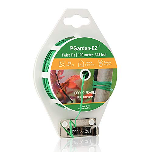 PGarden-EZ Garden Plant Ties Twist Ties with Cutter for Tomatoes Vines Bags PE Upgrade Plant Strings(Green 328 feet)