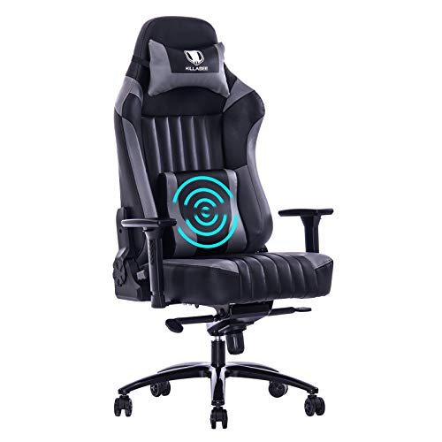 VON RACER KILLABEE Big and Tall 400lb Memory Foam Gaming Chair-Adjustable Tilt, Angle and 3D Arms Ergonomic High-Back Leather Racing Executive Computer Desk Office Metal Base (Gray).
