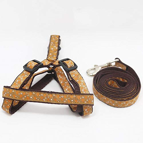 DGDC Random Pattern Pet Dog Leash Small Puppy Cat Leash Harness with Rope Adjustable Cat Collar Lead Pet Accessories-Brown_S.