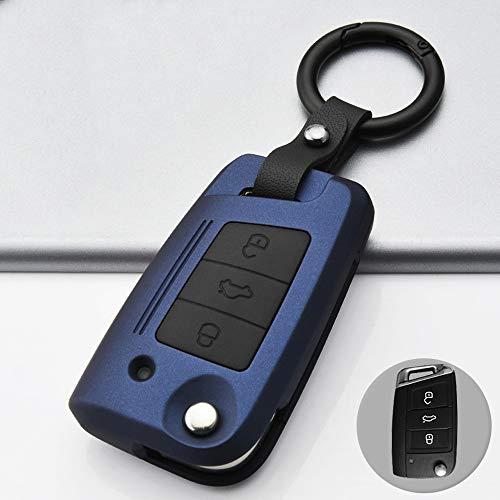 ontto Funda para llave de coche con mando a distancia para VW Golf 7 MK7 Polo T-ROC Tiguan Skoda Superb Octavia Seat Leon Ibiza ABS Carcasa llavero protección azul B