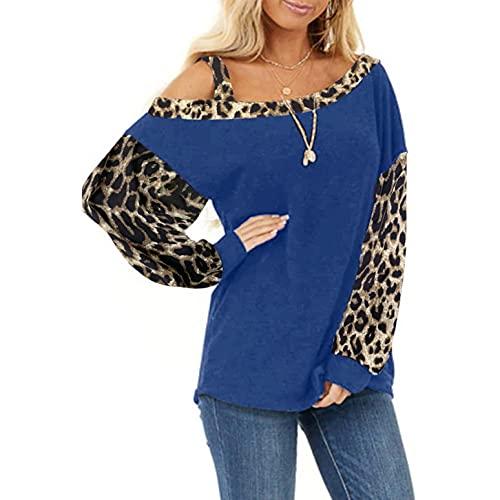 XUNN Maglietta da donna con spalle scoperte, a maniche lunghe, con spalle scoperte, leopardato, stitching, Blu marino, XL