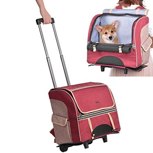 Hivexagon 2 in 1 Fahrbarer Tierträger mit Abnehmbare Teleskopstiel und Rädern, Haustier Rucksäcke/Transporttasche für Hunde/Katzen von bis zu 30 kg für Outdoor, Picknick, Shopping und mehr