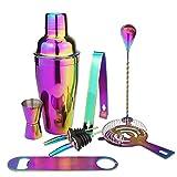 Bartender Kit 8 Piece, Set de coctelería Rainbow Cocktail, Herramientas de Barra de Acero Inoxidable, agitador Colorido con vertientes, colador y Cuchara de Barra retorcida, 750ml