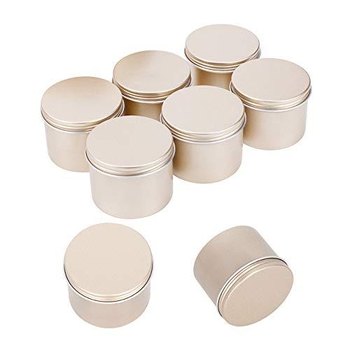 PandaHall 16pcs 3.3 oz (100 ML) Couvercle à vis Boîtes de Conserve Rondes en Aluminium Conteneurs de Stockage pour Bougies Arts Crafts, Articles de fête cosmétiques,Or Clair,6.8x5.1cm