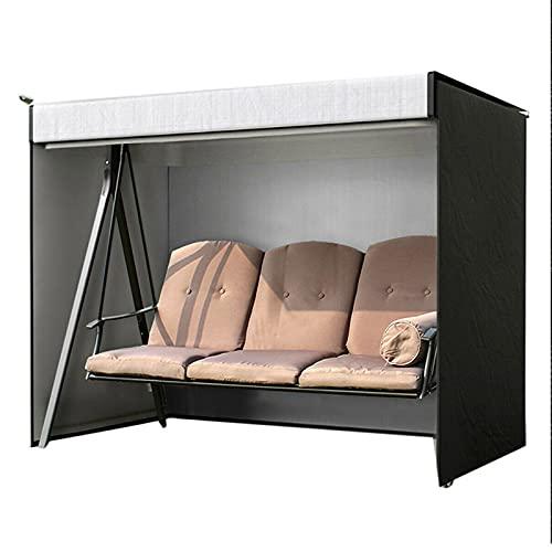 LCFF Funda para sillón Columpio,210D / 420D (Negro) Funda Antipolvo para Silla Colgante Impermeable,Resistente al Viento,Resistente a los Rayos UV,con Revestimiento de PVC,cordón Negro
