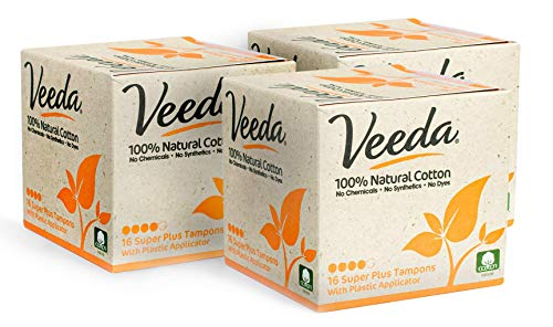 Veeda 100% Natural Cotton Compact BPA-Free Applicator Tampons Chlorine, 16 Count (Pack of 3)