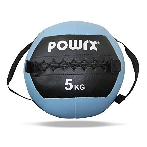 POWRX Wall Ball con Prese Laterali 1-8 kg - Ideale per Esercizi di »Functional Fitness« - Presa Antiscivolo + PDF Workout (5 kg/Celeste)