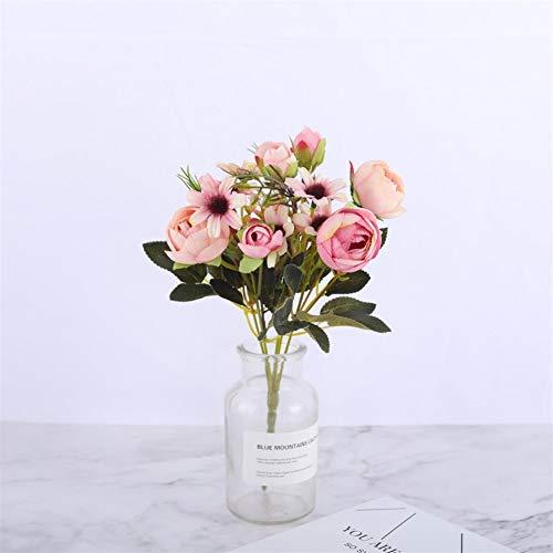 Mrjg Kunstblumen Silk DIY Daisy Camellia Künstliche Blumen Kleine Rose Braut Bouquet Xmas Party Decor Faux Gefälschte Blumen Hochzeit Dekoration Grünpflanzen (Color : Daisy Rose Pink)