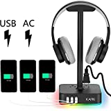 RGB Headphone Stand with USB Charger KAFRI Desk Gaming Headset Holder Hanger Rack with 3 USB...