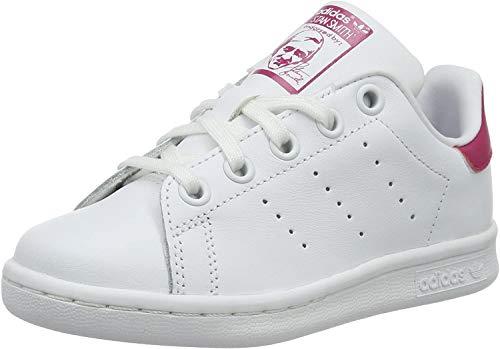 adidas Stan Smith C, Scarpe da Ginnastica Basse Unisex-Bambini, Bianco (Footwear White/footwear White/bold Pink), 28 EU