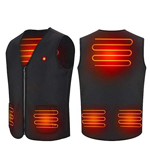 Gilet riscaldato USB o uomini e donne, unisex leggero gilet riscaldato, 3 file temperatura regolabile per attività all'aria aperta, campeggio, escursionismo, sci, pesca (M)