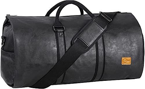 Borsa porta abiti impermeabile Borsa porta abiti da uomo per viaggi d'affari Borsone grande in tela con scomparto per scarpe-nero3