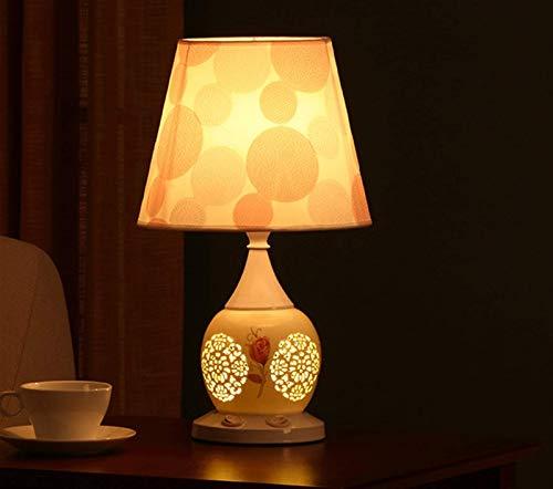 FGDSA Lámpara De Escritorio, Lámpara De Mesa De Cerámica Hueca Creativa Moderna, Pantalla De Tela, Lámpara De Cabecera De La Sala De Estar del Dormitorio De La Decoración del Hogar Retro Chino