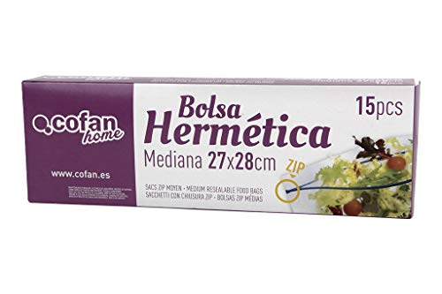 Bolsa Zip Herméticas   Tamaño Mediano   Medida 27 x 28 cm   Caja de 15 Unidades
