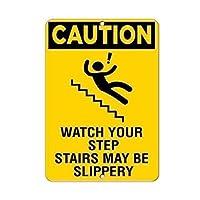 あなたの階段の階段は、ホーム看板ガレージフェンスヤードオフィスサインのための金属のブリキサインを警告します