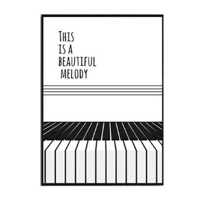 Minimalistischen Klavierauszug Leinwand Malerei Schwarz Weiß Wandkunst Poster Grafik Bilder for Wohnzimmer Wohnkultur Frameles Wanddekoration (Color : Piano, Size (Inch) : A4 21x30 cm no Frame)