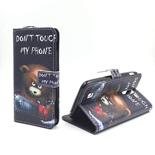 König Design Handyhülle Kompatibel mit Lenovo ZUK Z1 Handytasche Schutzhülle Tasche Flip Hülle mit Kreditkartenfächern - Don't Touch My Phone Bär mit Kettensäge