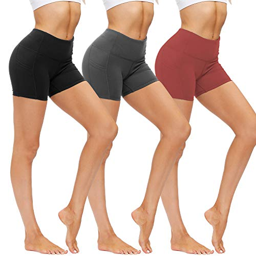 """WANAYOU Yoga Shorts for Women - High Waisted Tummy Control Stretch Biker Shorts with Side Pockets for Workout, Running (X-Large, 5""""-3 Pack Black/Dark Grey/Brown)"""