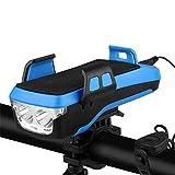 QZH Juego De Luces para Bicicleta, Luz para Bicicleta USB 4 En 1 Soporte para Teléfono Móvil Bocina para Bicicleta Banco De Energía Luz Impermeable para Bicicleta Carretera De Montaña,Azul