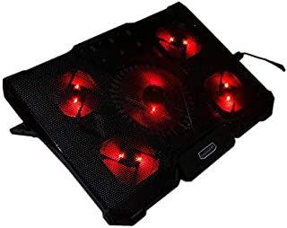 CoolCold Notebook PC Cooler Laptop Cooling Pad Air-cooled 5 LED Fans 2 USB Ports Adjustable Holder for 12-17 inch Laptop