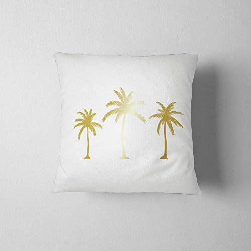 Palm tree Pillow, Decorative Pillow 16x16, Cushion for bench, Home decor, Throw pillow, Palm three print, Gold Palms Print