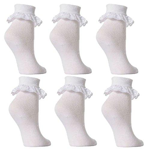 Lot de 6 paires de chaussettes pour bébé/fille - Dentelle - Blanc - Blanc - 6-12 mois