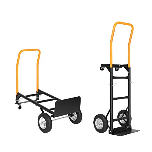 LUCKYERMORE Convertible Hand Truck Dual Purpose 2 Wheel Dolly and 4 Wheel Push Cart with Swivel Wheels 330 Lbs Capacity Heavy Duty Platform Cart for Moving/Warehouse/Garden/Grocery