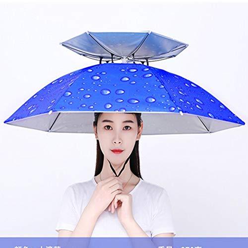 AZSTAR Angeln Regenschirm Hüte Faltbarer wasserdichte UV-Schutz Doppelschicht Sun Regen Kopf Regenschirm Kappe mit 7 Metbal Ribs für Fischen Strand Golf Gartenarbeit Fotografie Wandernder(Blau)