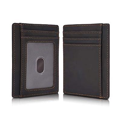 Polare Slim RFID Blocking Minimalist Full Grain Leather Front Pocket Wallets for Men Women