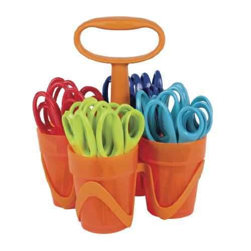 Fiskars 5 Inch Pointed-tip Kids Scissors with 4-Cup Carrying Caddy, Class Pack of 24 Pairs, Assorted