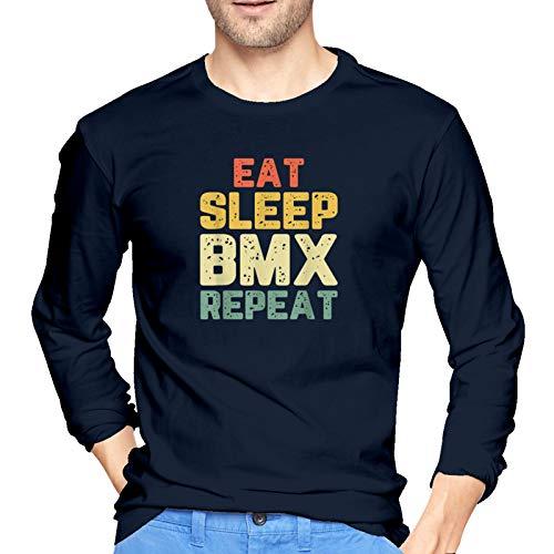 WGYWE Eat Sleep BMX Repeat - Camiseta de manga larga para hombre, diseño gráfico informal, color negro