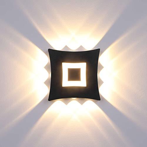 ENCOFT LED Wandleuchte Außen Innen Wandlampe 18W Wasserdicht IP65 Wandlicht Schwarz Wandbeleuchtung für Bad Flur Kinderzimmer Treppenhaus Wohnzimmer Schlafzimmer Warmweiß