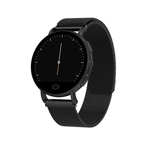 Reloj inteligente con pantalla a color HD, contador de pasos de fitness, monitor de la presión arterial de la frecuencia cardíaca, mensaje Push Fitness Tracker, Android e iOS, negro
