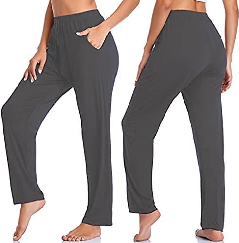 Yoga de Cintura Alta Elegante con Gimnasio,Pantalones Deportivos Modales de Fitness, Pantalones de Yoga Casuales Sueltos-Gris_XXL,Alta Pilates Fitness Mujer Gym Yoga Pantalon