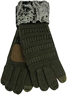 C.C Cable Knit Crushed Velvet Anti-Slip Touchscreen Texting Gloves