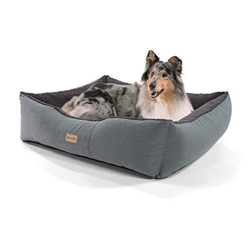 brunolie Emma großer Hundekorb in Dunkelbraun, waschbar, hygienisch und rutschfest, luftiges Hundebett mit Kissen zum Kuscheln, Größe L (100 x 90 x 30 cm)