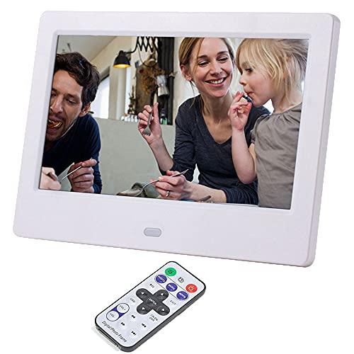 Cornice Digitale 7 pollici 1024x768 Portafoto Digitale Alta Risoluzione Display 16: 9, per Musica/MP3/ MP4/Video/Calendario/Sveglia/Auto On/Off Timer, con Telecomando