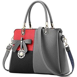Women Top-Handle Handbag Bowknot Crossbody Messenger Bag Gray Stitching 31x13x23cm
