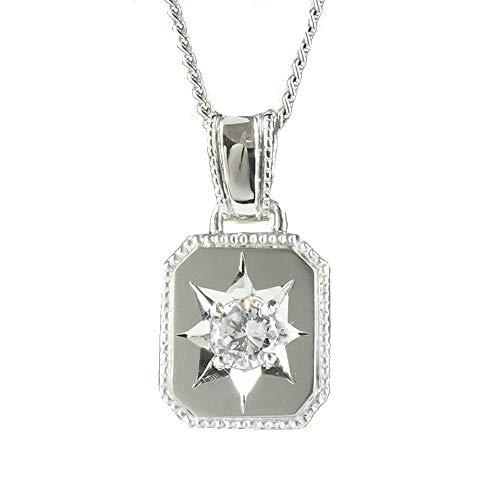 [アトラス] Atrus ネックレス メンズ pt999 純プラチナ ダイヤモンド ペンダントトップ チェーン(sv925シルバー)