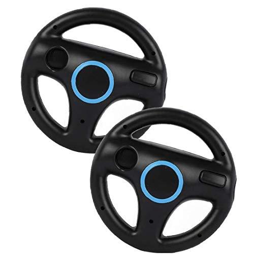 Sillas de Ruedas de Carreras Juego de Carreras del Volante Wii Wheel Controller Juego Compatible con el Wii Remote 2pcs Negro Juego