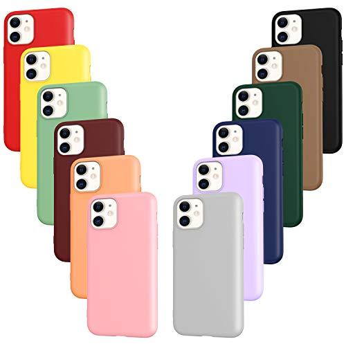 ivoler 12x Funda para iPhone 11, Fina Carcasa Silicona TPU Protector Flexible Funda (Negro, Gris, Azul, Verde Oscuro, Verde, Morado, Rosa, Rojo Vino, Rojo, Amarillo, Naranja, Marrón)